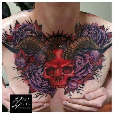 Tattoos - Walt Watts Red Horned Skull - 139860